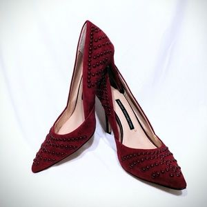 NWOB French Connection Elmyra Red Studded Heels